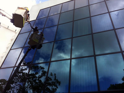 office window cleaning building