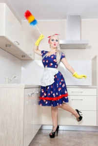 woman cleaning in bright clothes