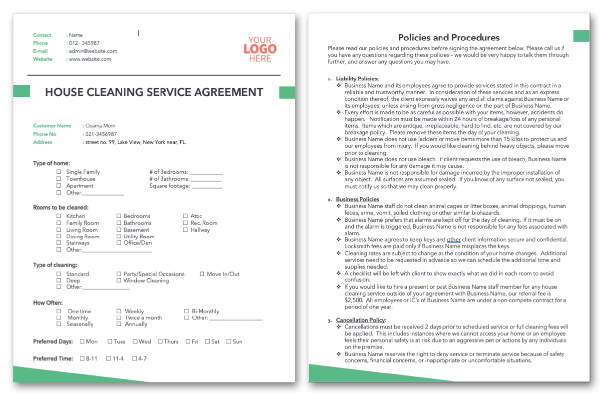 House Cleaning Service Agreement