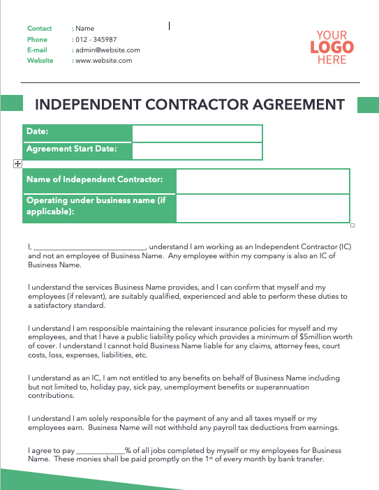 Independant Contractor Agreement