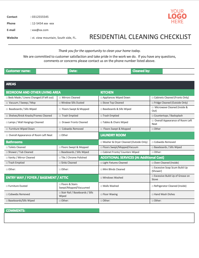 Residential Cleaning Checklist