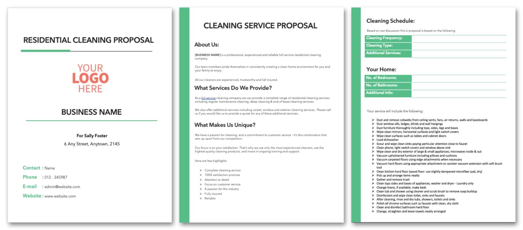 Residential Cleaning Proposal